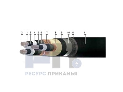 АПвБПг, 10 кВ (трехжильный)